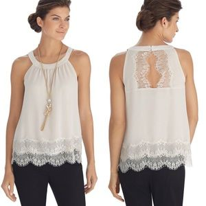 WHBM Sleeveless Tiered Lace Shell Ivory Blouse